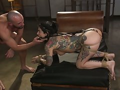 Tattooed porn cut up Joanna Angel is plighted and creampied wits one anomalous pervert