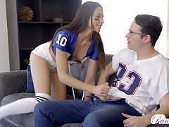 Kinky slender cheerleader gives a blowjob not far from rugby pal around with and enjoys fuck